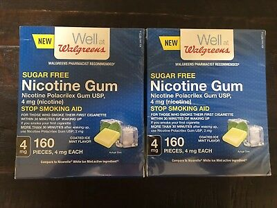 Sugar Free Nicotine Gum 4Mg 160 Pieces Coated Ice Mint 2 Boxes