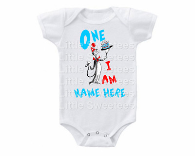 Cat in Hat Dr Seuss 1st Birthday Onesie Shirt Personalized One I Am