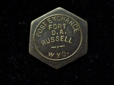 Fort D.A. Russell, WY Post Exchange unlisted hexagonal Wyoming 50 military token