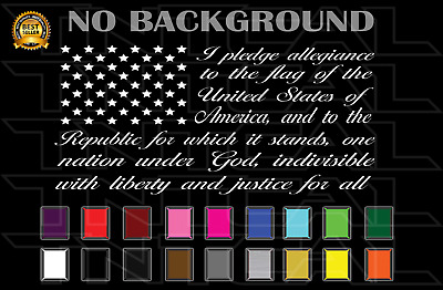 ffa19bd48d PLEDGE OF ALLEGIANCE American Flag CURSIVE USA Decal - Car Truck Window Wall