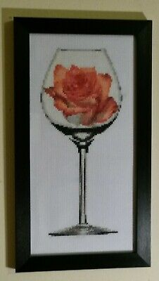HANDMADE FRAMED COUNTED CROSS STITCH COMPLETE ''Rose In Glass''