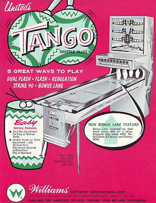 TANGO By UNITED 1966 ORIGINAL NOS SHUFFLE BOWLING ALLEY PROMO SALES FLYER