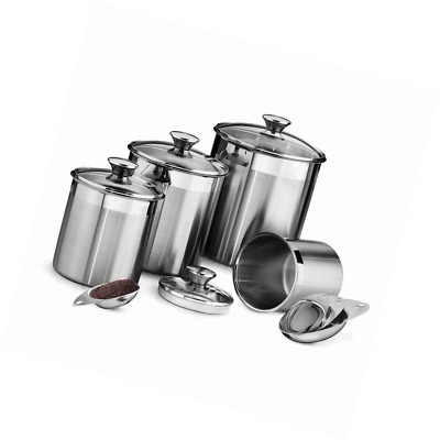 Tramontina 80204/527DS Gourmet 8Piece Canister & Scoops Set, Stainless Steel, MA