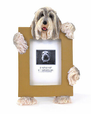 """E&S Imports Bearded Collie 2.5"""" x 3.5"""" Picture Frame Cute Stand Dog Lover Gift"""