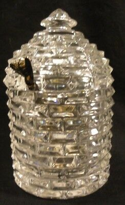 Godinger Shannon 3pc 24% Lead Crystal Honey Jar w/ Silver Honey Dipper Bee sk