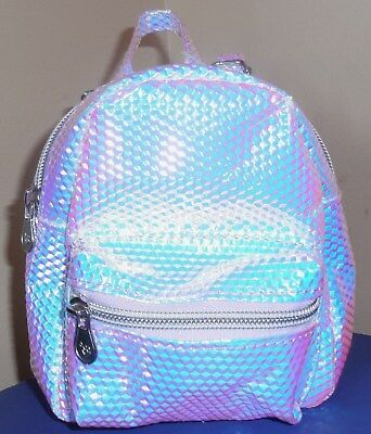 "Justice Girls Mini Mini Backpack Silver Iridescent Purse Bag 6.5"" Tall New Holo"
