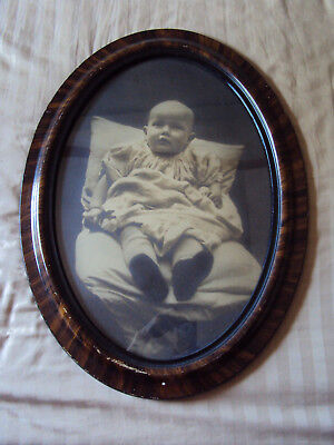 Antique Large Oval Tiger Wood Picture Frame Original Glass Baby