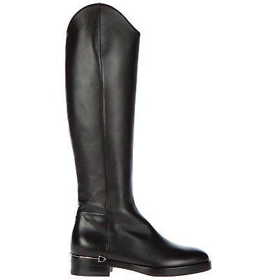 f552985e58d NEW GUCCI BLACK Leather Swarovski Crystal Heels Knee Boots Shoes 37 ...