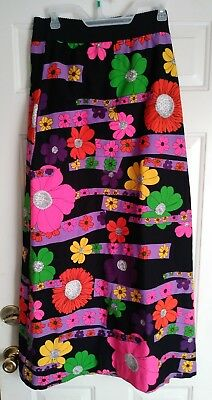 Vintage 1960s 1970s Maxi Skirt Mod Hippie Psychedelic Size Large / XL Barkcloth