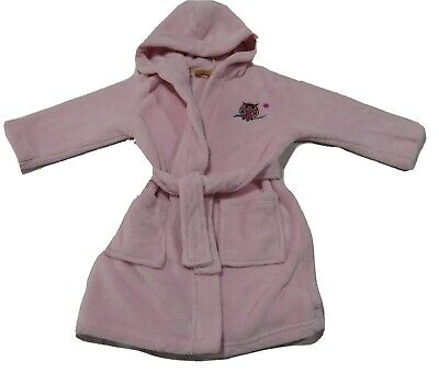 Girls size 3 Pink LILY & DAN soft fleece Dressing Gown Embroidered OWL Hood