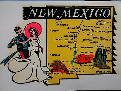 Vintage NEW MEXICO State Travel Decal  Authentic 1950s RV Luggage Camper