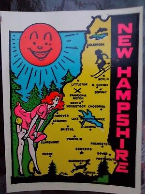 Vintage NEW HAMSHIRE State Travel Decal Authentic Souvenir RV Luggage Camper