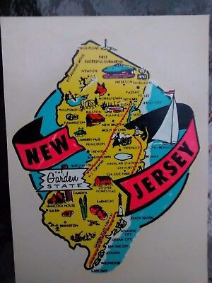 Vintage NEW JERSEY State Travel Decal Authentic 1950s Souvenir RV Luggage Camper