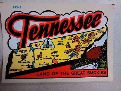 Vintage TENNESSEE Authentic1950s State Travel Decal Souvenir RV Luggage Camper