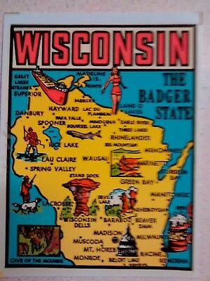 Vintage WISCONSIN State Travel Decal Authentic 1950s Souvenir Luggage Camper RV