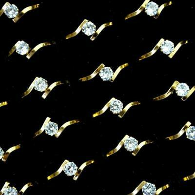8pcs Fashion Zircon Gold Stainless Steel Rings Women Girls wholesale jewelry KFP