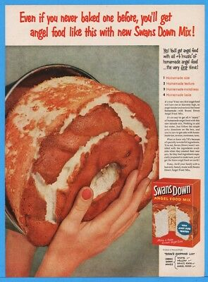 1954 Swans Down Cake Mix Angel Food Pan Just Add Water Magazine Print Ad