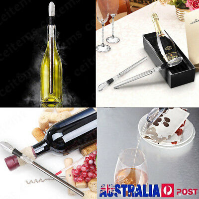 NEW WINE CHILL STICK SS Stainless Steel Chiller Ice Cold Pourer Spout Bottle Fre