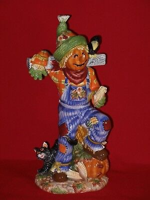 Fitz and Floyd HALLOWEEN HARVEST SCARECROW Figurine Figure Statue Pumpkin BIG