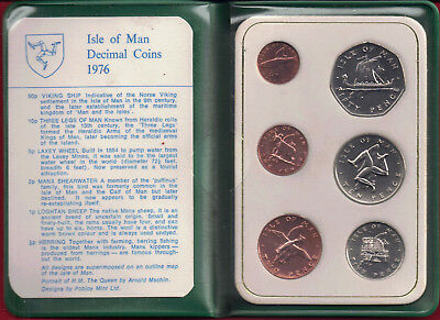 Isle of Man Manx 1976 Decimal Coins Set [6] Presentation Wallet.