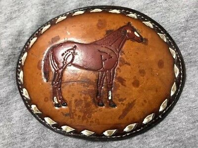 Hard To Find!!! Vintage Tony Lama Embroidered Horse Belt Buckle