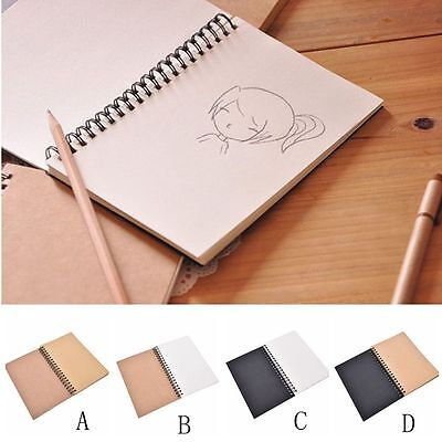 Craft Retro Spiral Bound Coil Sketch Book Blank Notebook Kraft Sketching Paper