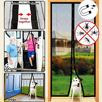 2x  Mesh Door Curtain Magnetic Magic Guard Fly Insect Mosquito Snap Screen Net