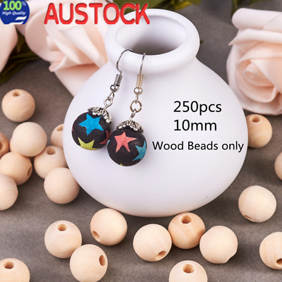 250pcs Natural Wood 10mm round beads Unpainted round wooden raw teething