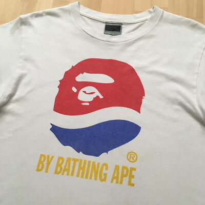 1aa022d3fa34 Vintage BAPE A Bathing Ape WHITE PEPSI LOGO T Shirts Made In Japan Size M
