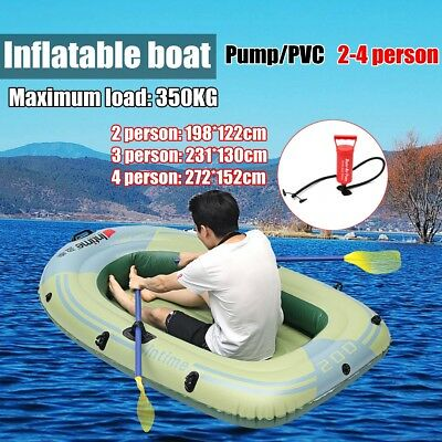 Sports Inflatable PVC Boat Raft Canoe Dinghy Tender 2/3/4 Person Kayak + Pump AU