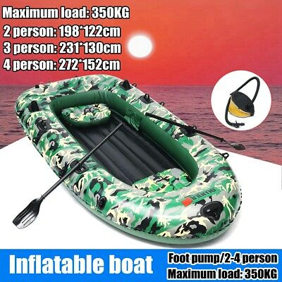 Inflatable Fishing Boat Raft PVC Canoe Dinghy Tender 2-4 Person Kayak +Foot Pump
