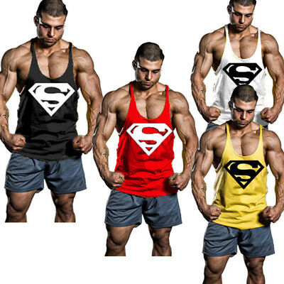 AU Mens Superman Gym Singlet Tank Top Stringer Bodybuilding Muscle Fitness Vest