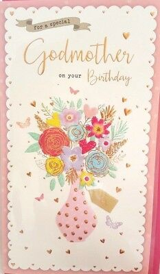Godmother Birthday Card Floral Vase Design Quality Nice Verse