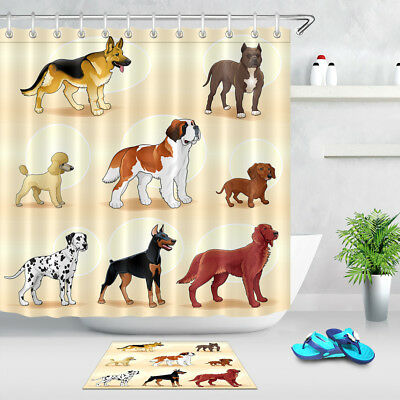 Pet Dog Family Fabric Shower Curtain Hooks Waterproof Polyester Bathroom Decor