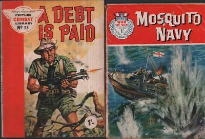War at Sea 20 & Picture Combat Library 53 comics 1962 Fleetway Micron Navy
