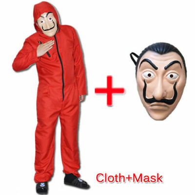 Salvador Dali La Casa De Papel Money Heist Rosso Jumpsuit Mask Costume Cosplay