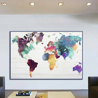 Colorful World Map Pattern Handmade Canvas Oil Painting Abstract Wall Picture MS