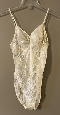 Vintage Ivory Lace Satin Teddy Lingerie Size Medium Lady Cameo Dallas USA