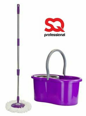 Easy Cleaning Extendable Microfibre Mop Rotary Spin and Bucket set Purple