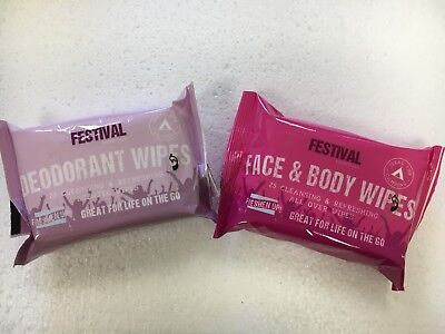 Festival Face & Body Wipes Deodorant Wipes for Camping/Festivals/Outdoor Activit