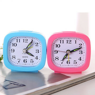 Square Small Bed Compact Travel Quartz Beep Battery Alarm Clock Cute Portable
