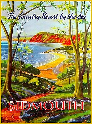 Sidmouth England Great Britain Devon Vintage Travel Advertisement Poster Print