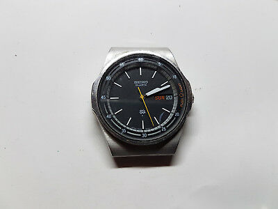 Vintage Black Dial Seiko Four Jewel 7559-600H Quartz Day Date Watch Runs No Band