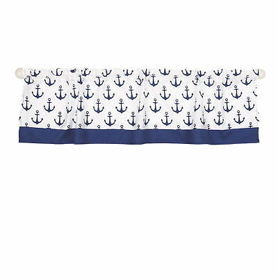 Navy Blue Nautical Print Window Valance by The Peanut Shell - 100% Cotton Sateen