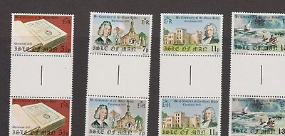 Isle Of Man Mnh Stamp Gutter Pair 1975 Christmas + The Manx Bible Sg 71-74