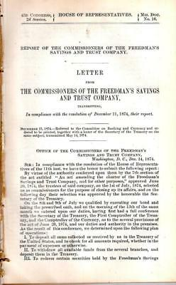 Cmte of Banking and Currency-Report of the Freedman's Savings and Trust Co