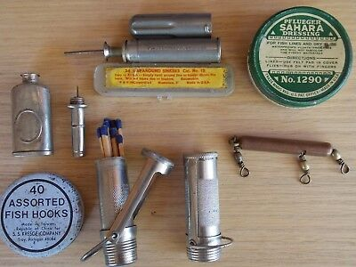 8 Piece Vintage FISHING Oilers, Match Case, Sinkers, Hooks, Tins