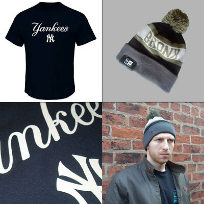 New York Yankees Officially Licenced [Med or Large] MLB T shirt + Bronx Knit Hat