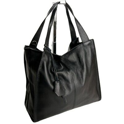 Made in Italy Grande Shopper XL Spalla Donna Borsa Vera pelle in Nero 090S