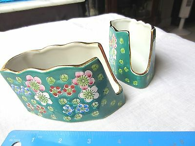 Vintage set of Shafford Japan Spoon & Fork holders, green w/hand painted flowers